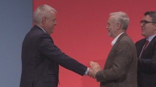 Carwyn Jones shaking hands with Jeremy Corbyn