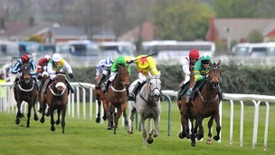 Winner Neptune Collonges (grey) approaches the line during the 2012 race