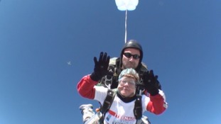 Supergran skydives to raise money for cancer charity