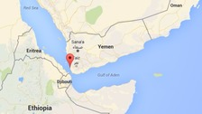 The air strike occurred in the village close to the Red Sea port of Mocha, marked on the map.