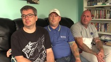 Nathan, Gary, and Dale Brickwood (l-r), whose father was killed at the weekend.