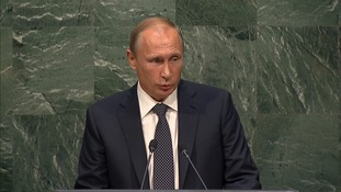 Russian president Vladamir Putin addresses UN General Assembly