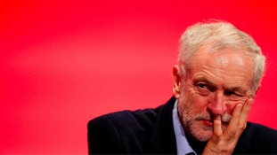 Labour leader Jeremy Corbyn listens to a speech on the second day of conference in Brighton.