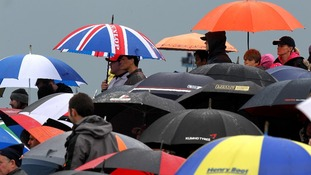 A sea of umbrellas at the British Grand Prix at Silverstone