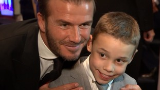David Beckham with Bailey Matthews