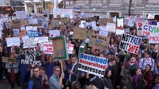 NHS workers march on Downing Street.
