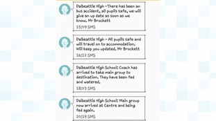 Parents of pupils from Dalbeattie High School were informed of the bus crash via text message.
