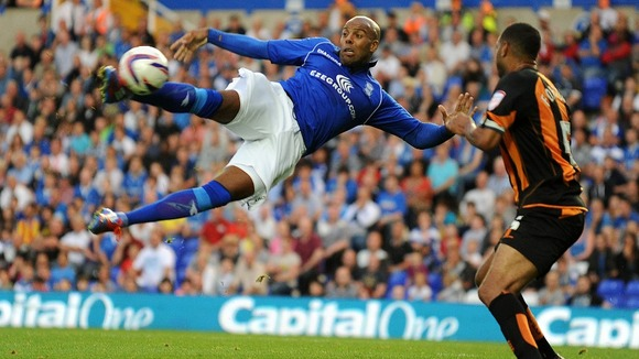 Birmingham City's Marlon King jumps to shoot against Barnet. The Blues won 5-1.