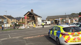 Delph Service Station destroyed during ram-raid.