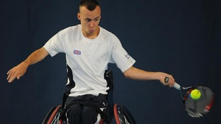 Andrew Lapthorne in action during a training session at the National Tennis Centre, Roehampton.