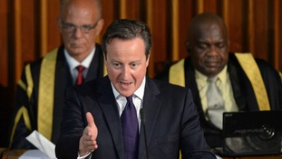 David Cameron addressing the Jamaican parliament