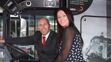 Jarrod Spedding and Charlene Liversidge on the bus.