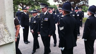 Senior police officers attend memorial service for Pc Dibell