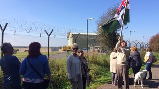 Hundreds turned out to wave goodbye to the RAF helicopter.