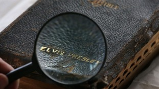 Sixteen hundred page bible that used to belong to Elvis Presley.
