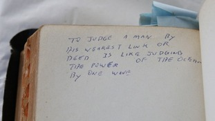 One of the handwritten messages in a sixteen hundred page bible that used to belong to Elvis Presley.