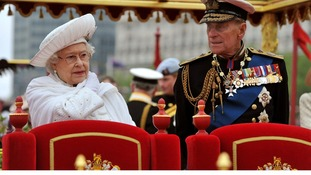 Queen Elizabeth II and Duke of Edinburgh onboard the Spirit of Chartwell during the Diamond Jubilee Pageant in June.