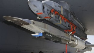 An X-51A WaveRider hypersonic flight test vehicle.