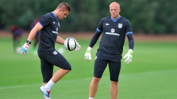 Jack Butland trains with John Ruddy