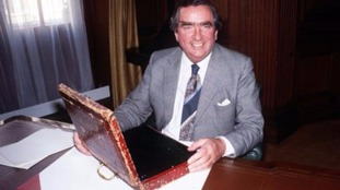 Former Chancellor of the Exchequer Denis Healey in the Treasury.