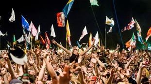 Festival goers at the Pyramid stage at Glastonbury 2015