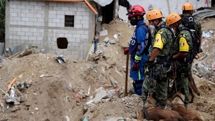 Mexican Army rescue team members and sniffer dogs survey an area affected by the mudslide.