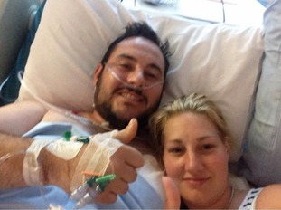 Mathew and Saera in hospital
