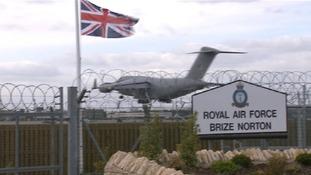 The RAF plane lands