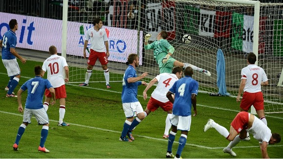 England in action against Italy on Wednesday night in Berne.