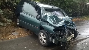 The car after the crash in Studley this evening