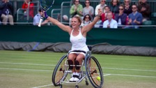Jordanne Whiley celebrates winning Wimbledon earlier this year