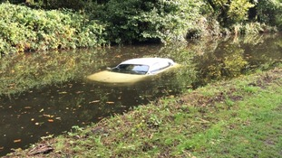 The BMW ended up in the canal
