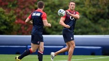 George Ford and Sam Burgess (right) at an England training session.
