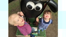 Four-year-old Shaun fan Oscar with his little sister Tillie.