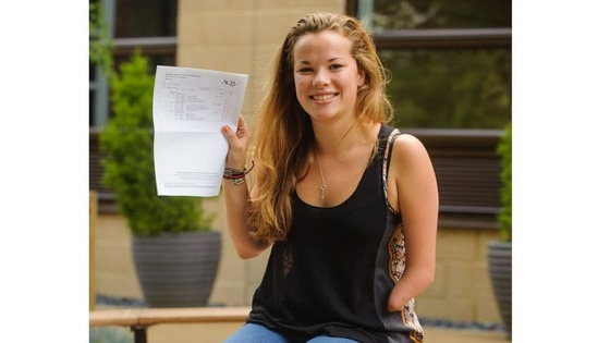 Jess Harper receives her A-level results at Putney High School.