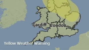 Area covered by a yellow weather warning for heavy rain on Wednesday.