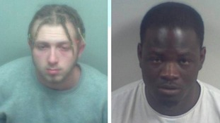Men jailed over knife attack in front of children