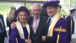 Alastair with Alan Titchmarsh and Vice Chancellor Prof Joy Carter.