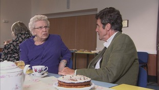 Tonight reporter John Stapleton chats to Irene at a tea party