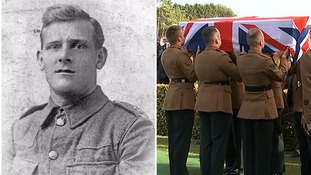 British First World War hero finally laid to rest almost 100 years after death at Somme
