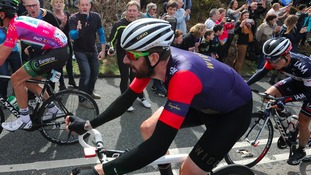 Sir Bradley Wiggins tackles the Cote de Cow and Calf during the 2015 Tour de Yorkshire