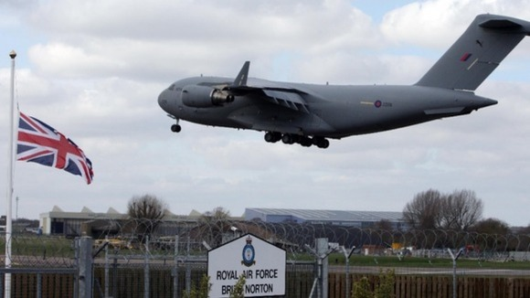 Plane arriving at RAF Brize Norton