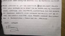 Lindsay Sandiford's letter