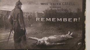 Postcard marking the execution of the nurse Edith Cavell