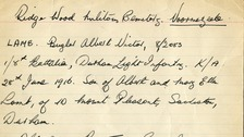 Card containing burial details for Bugler Albert Victor Lamb