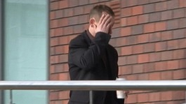 Graham Leith arrives at court covering his face
