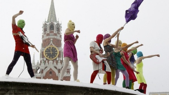 Pussy Riot sing a song at the Lobnoye Mesto, in Red Square in Moscow in January.