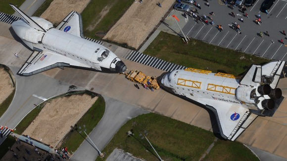 Space shuttles Endeavour and Atlantis switched locations at Kennedy Space Center in Florida