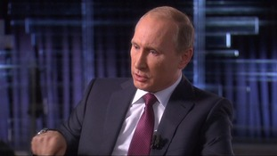 Mr Putin speaking to Russian state media