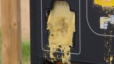 Foam was pumped inside several parking machines in Montpelier earlier this year.
